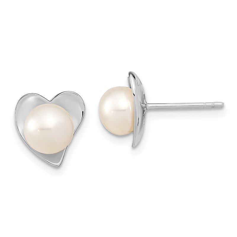 Quality Gold Sterling Silver RH 7-8mm White Button FWC Pearl Post Earrings