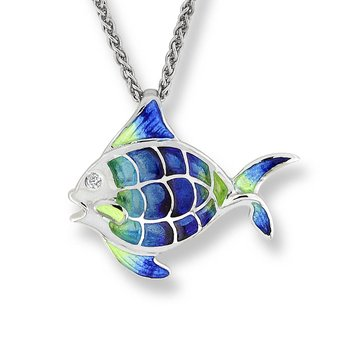 Blue Angel Fish Necklace.Sterling Silver-White Sapphire - Plique-a-Jour