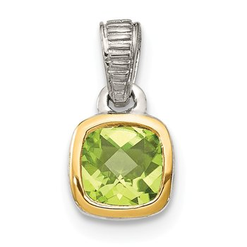 Sterling Silver w/ 14K Accent Peridot Pendant