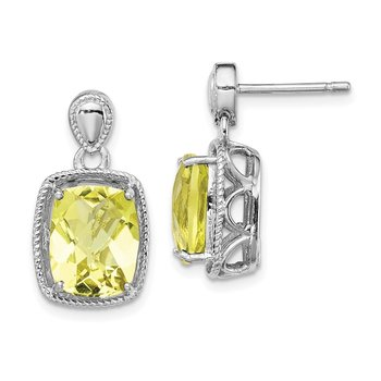 Sterling Silver Rhodium-plated Lemon Quartz Earrings