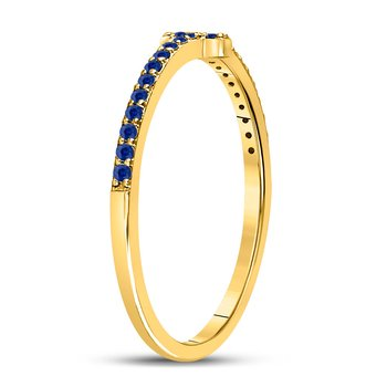 10kt Yellow Gold Womens Round Blue Sapphire Cross Stackable Band Ring 1/6 Cttw
