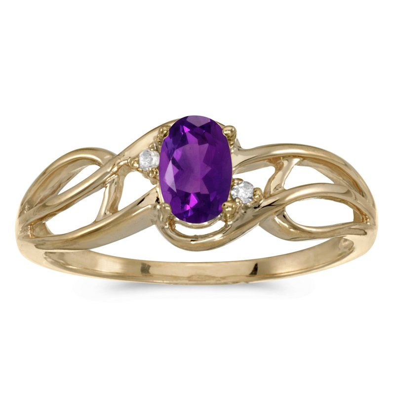 Color Merchants 10k Yellow Gold Oval Amethyst And Diamond Curve Ring