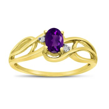 10k Yellow Gold Oval Amethyst And Diamond Curve Ring