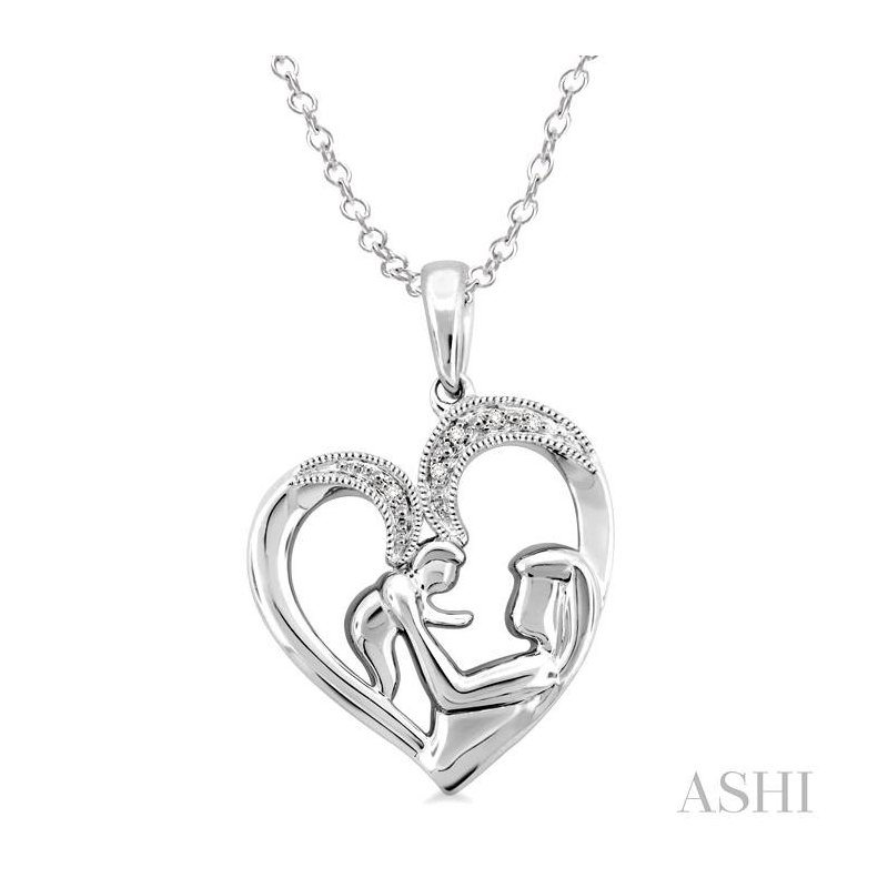 ASHI silver child & mom diamond pendant