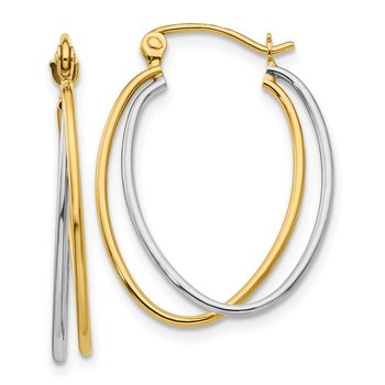 14K Two Tone Hoop Earrings