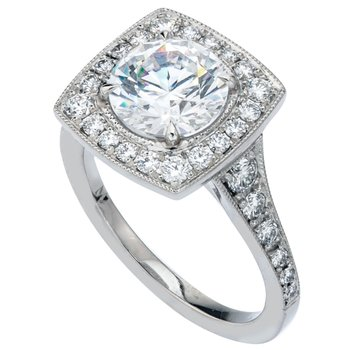 Bead Set Halo Diamond Engagement Ring