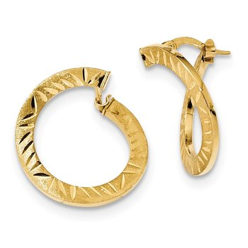 14k Satin Diamond-cut Twist Hoop Earrings