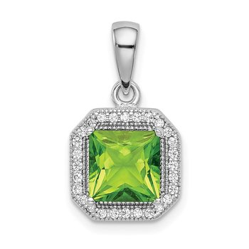 Sterling Silver Rhodium Plated Clear CZ and Square Green CZ Pendant