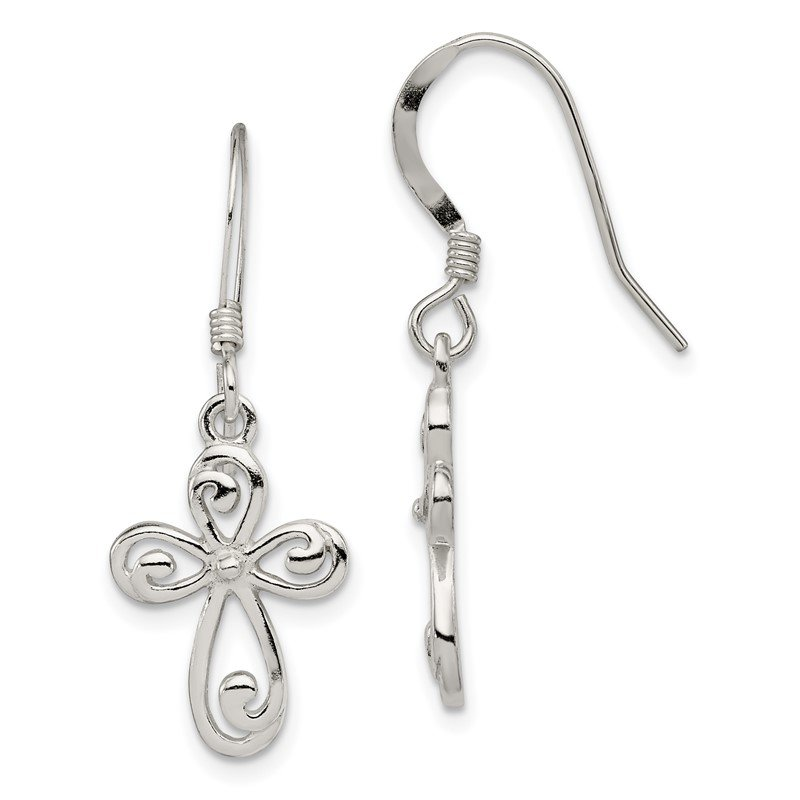 Quality Gold Sterling Silver Polished Cross Dangle Earrings