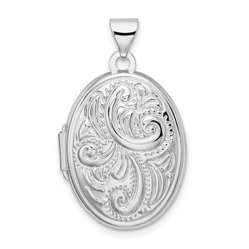 Sterling Silver Rhodium-plated Reversible Scroll Oval Locket