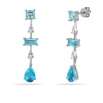 14K multi shape drop earring with 6 Blue Topaz 1.35C & 8 Diamonds 0.20C