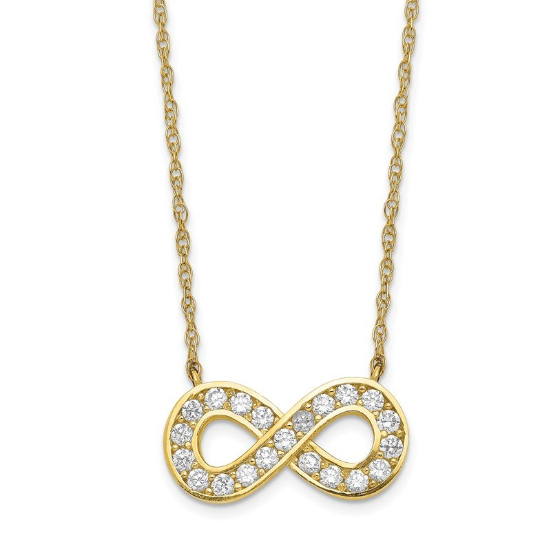 Quality Gold 10K 18inch Polished CZ Infinity Necklace