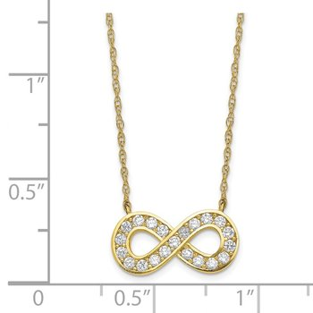 10K 18inch Polished CZ Infinity Necklace