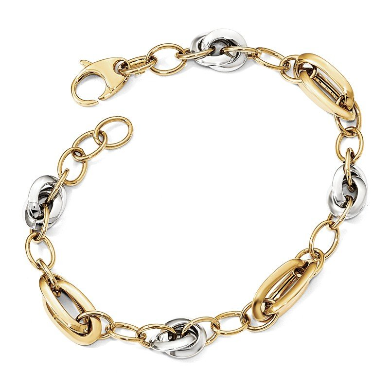 Leslie's Leslie's 14K Two-tone Polished Fancy Link 8in Bracelet