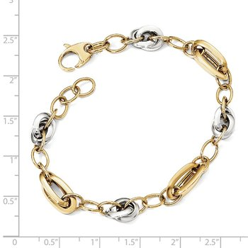 Leslie's 14k Two-tone Polished Fancy Link 8in Bracelet