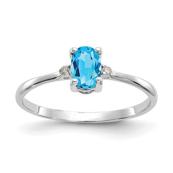 10k White Gold Polished Geniune Diamond/Blue Topaz Birthstone Ring