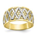 Quality Gold 10K w/Rhodium Diamond-Cut Filigree Ring