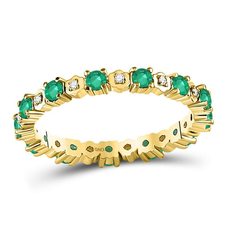 Kingdom Treasures 10kt Yellow Gold Womens Round Emerald Diamond Eternity Band Ring 1.00 Cttw