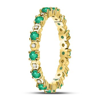 10kt Yellow Gold Womens Round Emerald Diamond Eternity Band Ring 1.00 Cttw