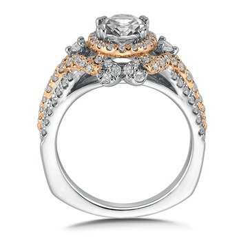 Diamond Halo Engagement Ring Mounting in 14K White/Rose Gold (.76 ct. tw.)