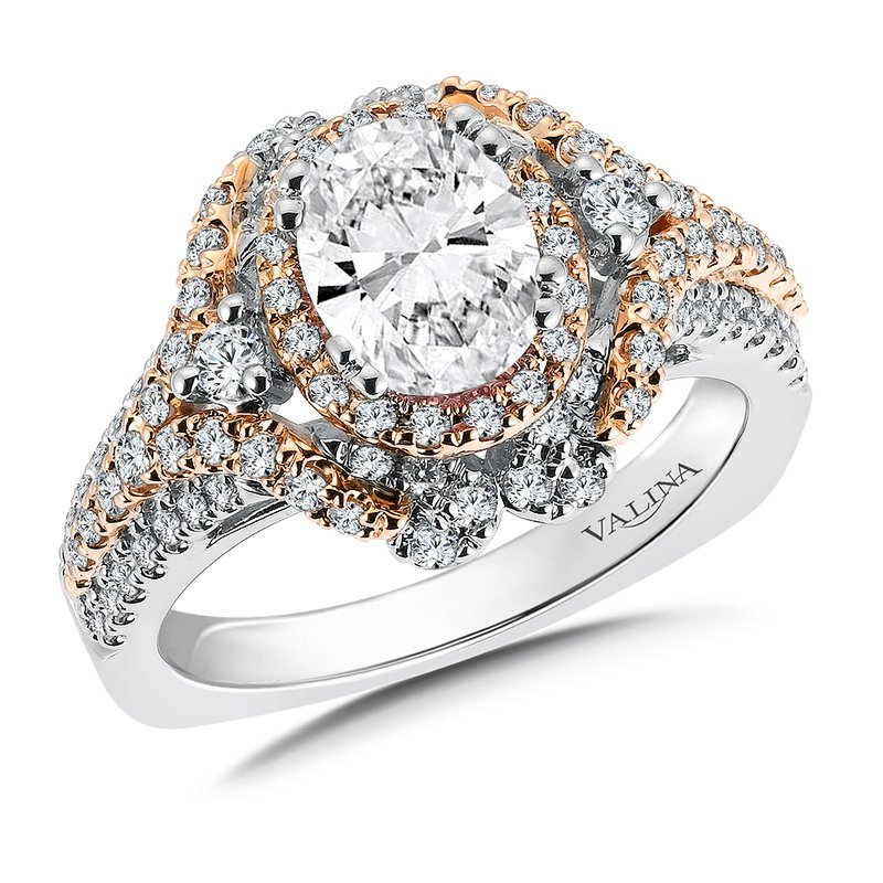 Valina Diamond Halo Engagement Ring Mounting in 14K White/Rose Gold (.76 ct. tw.)