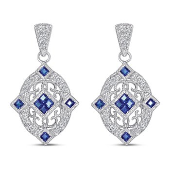 Sterling Sliver vintage style earrings with diamonds (0.13ct) and sapphires (0.61ct)