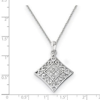 Sterling Silver CZ I Love You All Year Long 18in Necklace