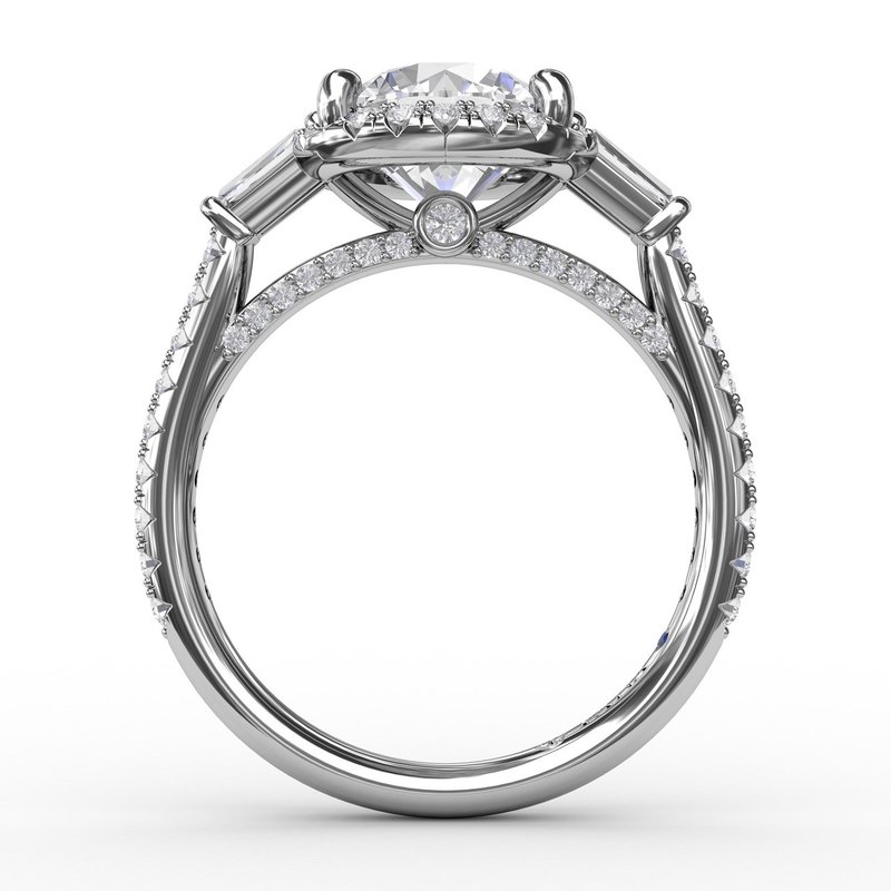Fana Vintage Round Diamond Halo Engagement Ring With Tapered Baguettes