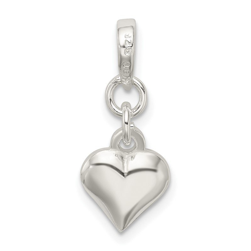 Quality Gold Sterling Silver Puffed Heart Pendant