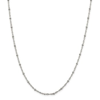 Sterling Silver 2.5mm Singapore w/ Beads Chain Anklet