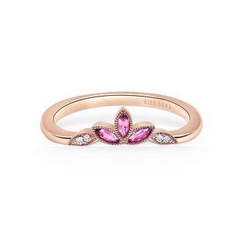 Pink Sapphire Leaf Diamond Wedding Band