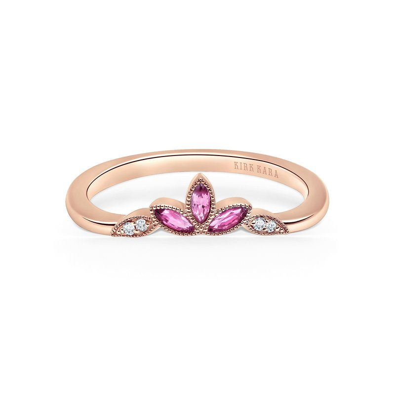 Kirk Kara Pink Sapphire Leaf Diamond Wedding Band