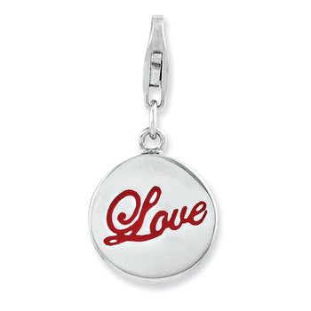 Sterling Silver Rhodium plated Enameled Love w/Lobster Clasp Charm