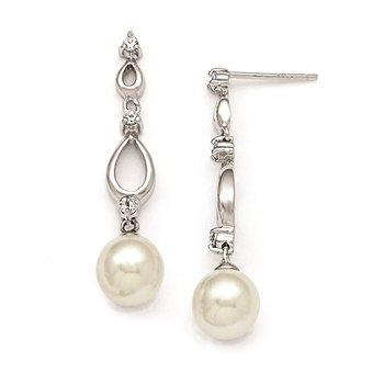 Sterling S Majestik Rh-pl 8-9mm Wht Imitat Shell Pearl & CZ Ear & Neck Set