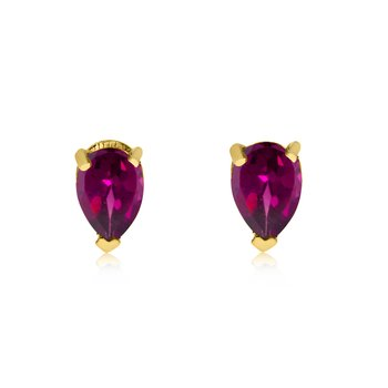 14k Yellow Gold Ruby Pear-Shaped Earring