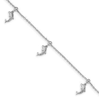 Sterling Silver Rhodium-plated CZ Dolphin Dangle 6.5 in w/1IN Ext Bracelet