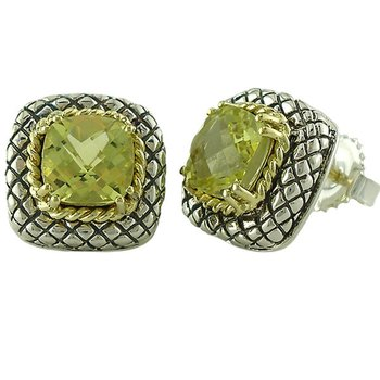 18kt and Sterling Silver Cushion Lemon Quartz Button Earrings