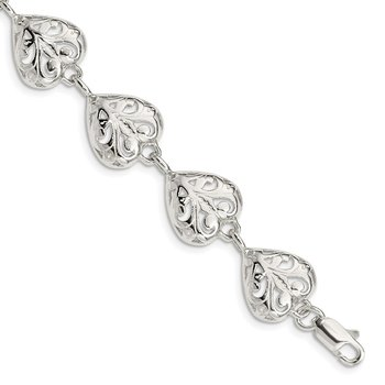 Sterling Silver Fancy Filigree Heart 7 inch Bracelet