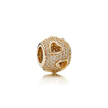 Tumbling Hearts Charm, Clear Cz 14K Gold