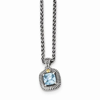 Sterling Silver w/14ky Lt Swiss Blue Topaz Necklace