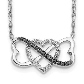 14k White Gold w/ Blue and White Diamond Triple Heart Pendant