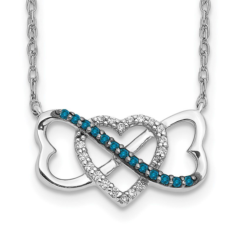 Quality Gold 14k White Gold w/ Blue and White Diamond Triple Heart Pendant