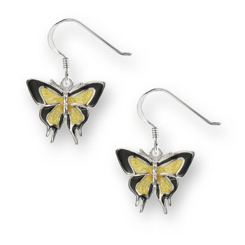 Yellow Butterfly Wire Earrings.Sterling Silver