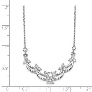 Sterling Silver Rhodium-plated CZ 15.5 inch with 2 inch ext. Necklace