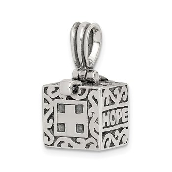 Sterling Silver Faith & Hope Prayer Box Pendant