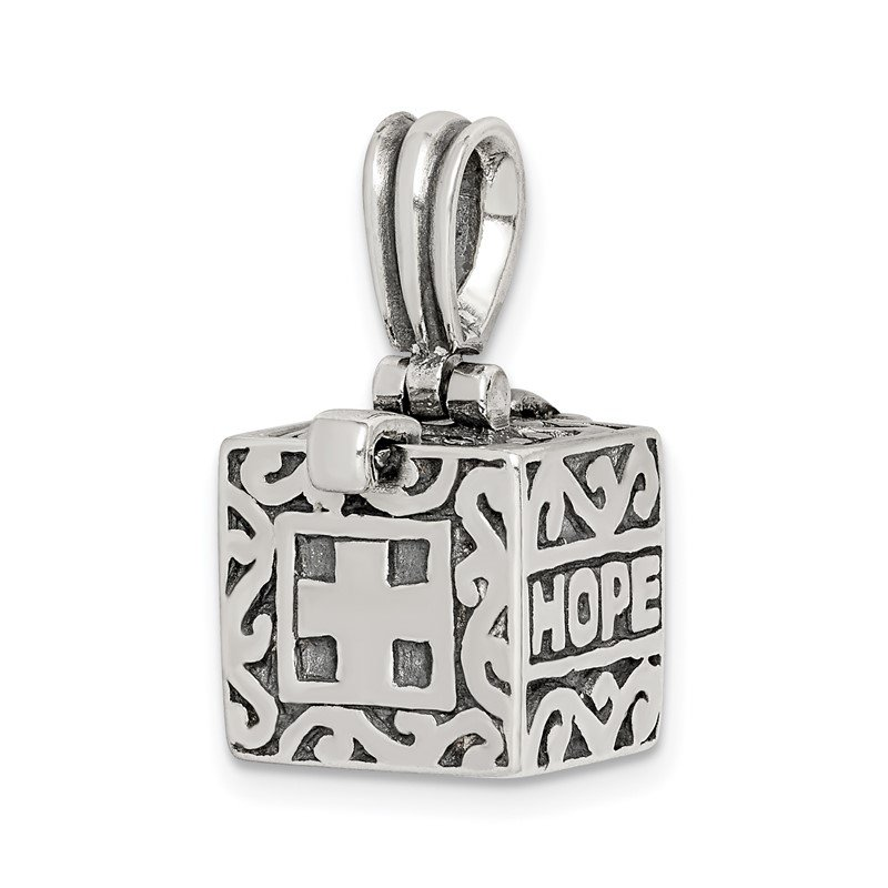 Quality Gold Sterling Silver Faith & Hope Prayer Box Pendant