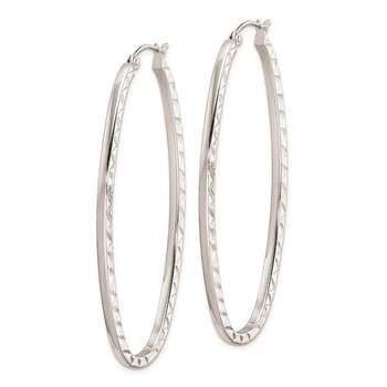 Sterling Silver Rhodium Plated Polished Diamond-cut Oval Hoop Earrings