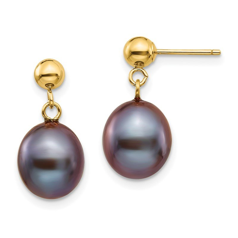 J.F. Kruse Signature Collection 14k 8-9mm Black Rice Freshwater Cultured Pearl Dangle Post Earrings