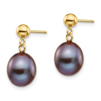 14k 8-9mm Black Rice Freshwater Cultured Pearl Dangle Post Earrings