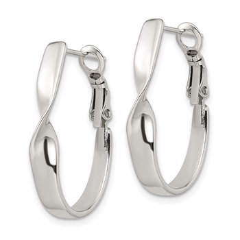 Sterling Silver Twisted Oval Omega Back Hoop Earrings
